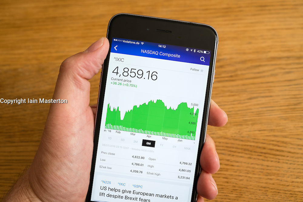 Detail of stock market performance of NASDAQ stock exchange  on a smart phone