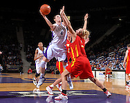 Kansas State forward Ashley Sweat (4) dirves to the basket against pressure form Iowa State's Nicky Wieben (5), during second half action at Bramlage Coliseum in Manhattan, Kansas, February 24, 2007.  Iowa State beat Kansas State 64-61.