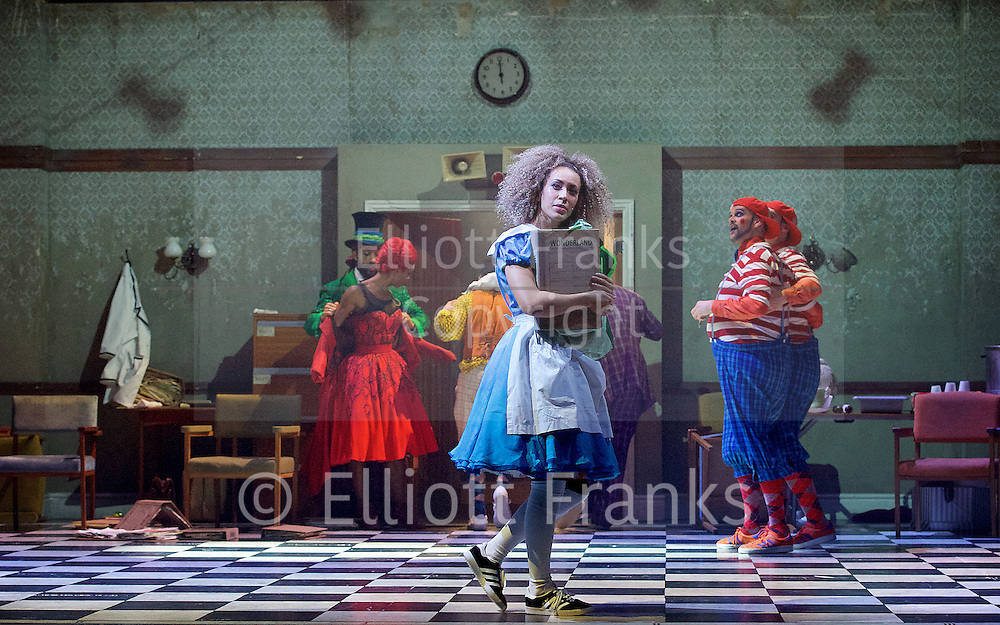 The Mad Hatter&rsquo;s Tea Party <br /> by Zoo Nation<br /> directed by Kate Prince<br /> presented by Zoo Nation, The Roundhouse &amp; The Royal Opera House<br /> at The Roundhouse, London, Great Britain <br /> rehearsal <br /> 29th December 2016 <br /> <br /> <br /> Kayla Lomas-Kirton as Alice <br /> <br /> <br /> <br /> Photograph by Elliott Franks <br /> Image licensed to Elliott Franks Photography Services