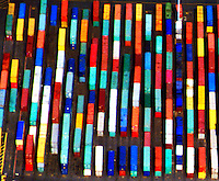 Aerial view of Container Box Cars in the port of Baltimore Aerial views of artistic patterns in the earth.