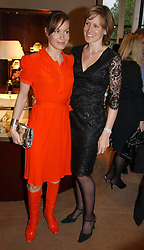 Left to right, sisters TARA PALMER-TOMKINSON and SANTA SEBAG-MONTEFIORE at a party to celebrate the publication of 'Last Voyage of The Valentina' by Santa Montefiore at Asprey, 169 New Bond Street, London W1 on 12th April 2005.<br />