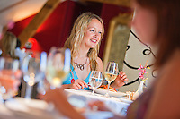 Young women dining<br /> Ye Olde Bulls Head Inn<br /> Beaumaris<br /> Anglesey<br /> North<br /> Dining<br /> Pubs &amp; Restaurants