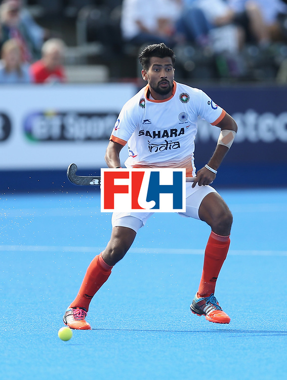 LONDON, ENGLAND - JUNE 16:  Devindar Walmiki of India during the FIH Mens Hero Hockey Champions Trophy match between Australia and India at Queen Elizabeth Olympic Park on June 16, 2016 in London, England.  (Photo by Alex Morton/Getty Images)