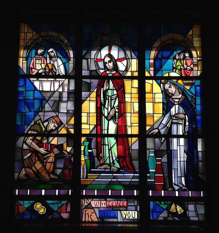"""Stained glass depicting a scene from the wedding at Cana. """"Do whatever he tells you."""" Taken with iPhone5 at Holy Rosary Church in Kewaunee. (Sam Lucero photo)"""