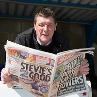 St Johnstone manager Tommy Wright pictured at McDiarmid Park this morning reading the papers reports about his teams historic semi-final victory over Aberdeen to reach the Scottish Cup Final on May 17th.<br /> Picture by Graeme Hart.<br /> Copyright Perthshire Picture Agency<br /> Tel: 01738 623350  Mobile: 07990 594431