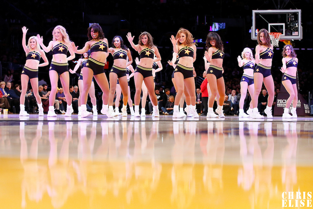 10 December 2013: The Lakers Girls perform during the Phoenix Suns 114-108 victory over the Los Angeles Lakers at the Staples Center, Los Angeles, California, USA.