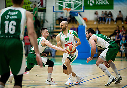 Domen Bratoz of Krka vs Boban Tomic of Petrol Olimpija during basketball match between KK Krka and KK Petrol Olimpija in 22nd Round of ABA League 2018/19, on March 17, 2019, in Arena Leon Stukelj, Novo mesto, Slovenia. Photo by Vid Ponikvar / Sportida