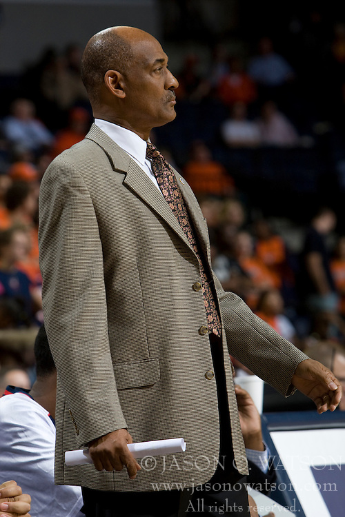 Howard head coach Gil Jackson..The Virginia Cavaliers men's basketball team faced the Howard Bison at the John Paul Jones Arena in Charlottesville, VA on November 14, 2007.