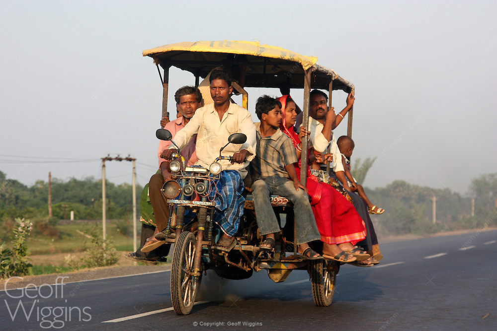 Indian tricycle motorcycle rickshaw in West Bengal, India