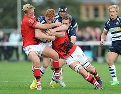Bristol Rugby Outside Centre Jack Tovey is challenged by London Welsh Fly-Half Joe Carlisle (left) - Mandatory byline: Dougie Allward/JMP - 07966 386802 - 13/09/2015 - RUGBY UNION - Old Deer Park - Richmond, London, England - London Welsh v Bristol Rugby - Greene King IPA Championship.