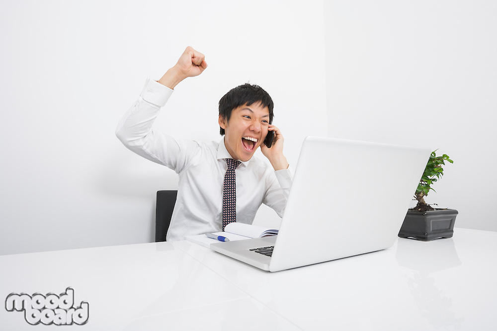 Mid adult businessman cheering on cell phone at desk in office