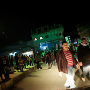 January 19, 2012 - Idleb, Syria: Protestors gathered in central Bennish to demonstrate against the Syrian regime, demanding Bashar Al-Assad to give up power.
