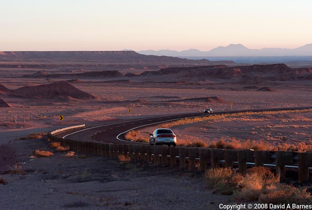 Highway through Painted Desert,  Navajo resevation, Arizona, USA.............a