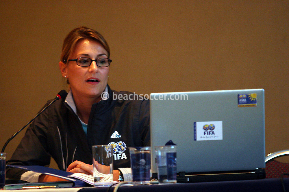 Football - FIFA Beach Soccer World Cup 2006 - Team Coordination Meeting for Group Stage - Rio de Janeiro - Brazil 01/11/2006 - Jasmin Frei speaks during the meeting -<br /> Event Title Boad Mandatory Credit: FIFA / Ricardo Moraes
