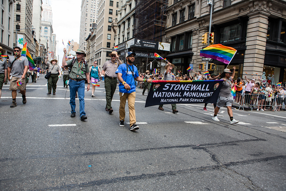 New York, NY - 25 June 2017. New York City Heritage of Pride March filled Fifth Avenue for hours with groups from the LGBT community and it's supporters. Marchers from the National Park Service, Stonewall Inn National Monument. It was made a National Monument on June 24, 2016.