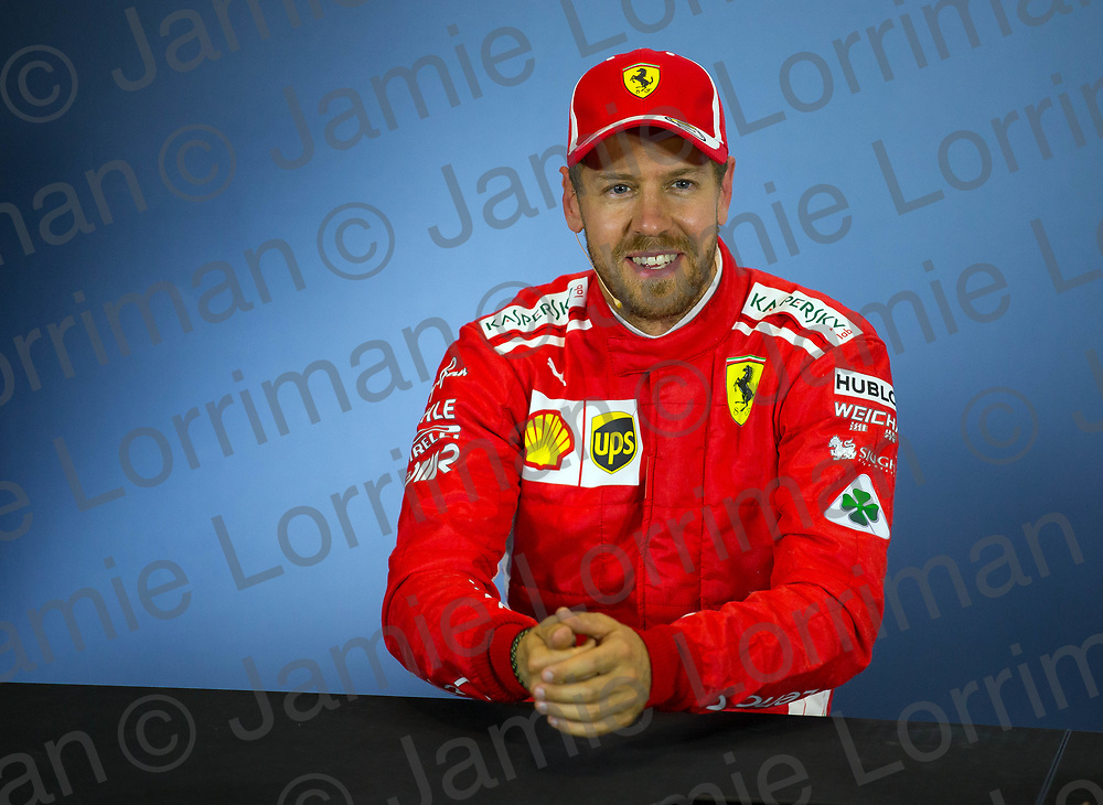 The 2018 Formula 1 F1 Rolex British grand prix, Silverstone, England. Saturday 7th July 2018.<br /> <br /> Pictured: Scuderia Ferrari driver Sebastian Vettel speaks in the press conference after qualifying at Silverstone.<br /> <br /> Jamie Lorriman<br /> mail@jamielorriman.co.uk<br /> www.jamielorriman.co.uk<br /> 07718 900288