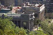 Looking down at National Library from Cerro Santa Lucia, Santiago, Chile