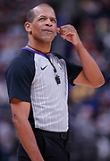 INDIANAPOLIS, IN - MARCH 12: NBA referee Eric Lewis #42 is seen during the Indiana Pacers and New York Knicks game at Bankers Life Fieldhouse on March 12, 2019 in Indianapolis, Indiana. NOTE TO USER: User expressly acknowledges and agrees that, by downloading and or using this photograph, User is consenting to the terms and conditions of the Getty Images License Agreement. (Photo by Michael Hickey/Getty Images) *** Local Caption *** Eric Lewis
