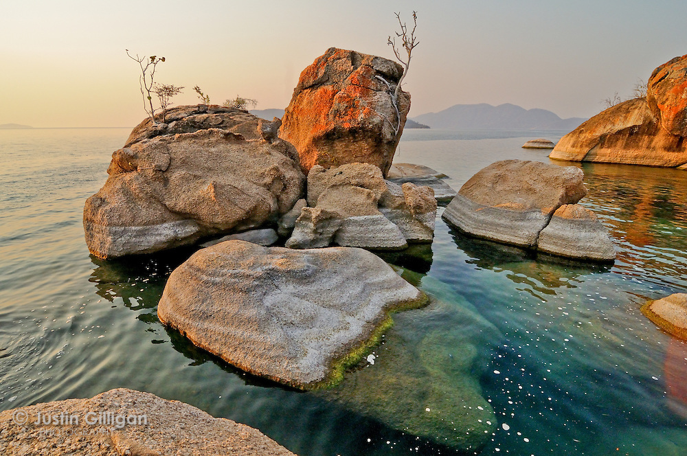 Dramatic shore of the Lake Malawi National Park, Cape Maclear, Lake Malawi, Malawi.