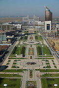 """Panoramic view from the Baiterek, the New Astana's main symbol and landmark. State Gas Headquarters (m.) - the """"Ashtray""""; Transport Ministry (r.) - the """"Lighter""""."""