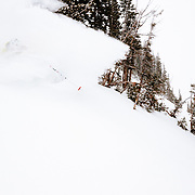 Andrew Whiteford skiing the first massive winter storm powder at Jackson Hole Mountain Resort.