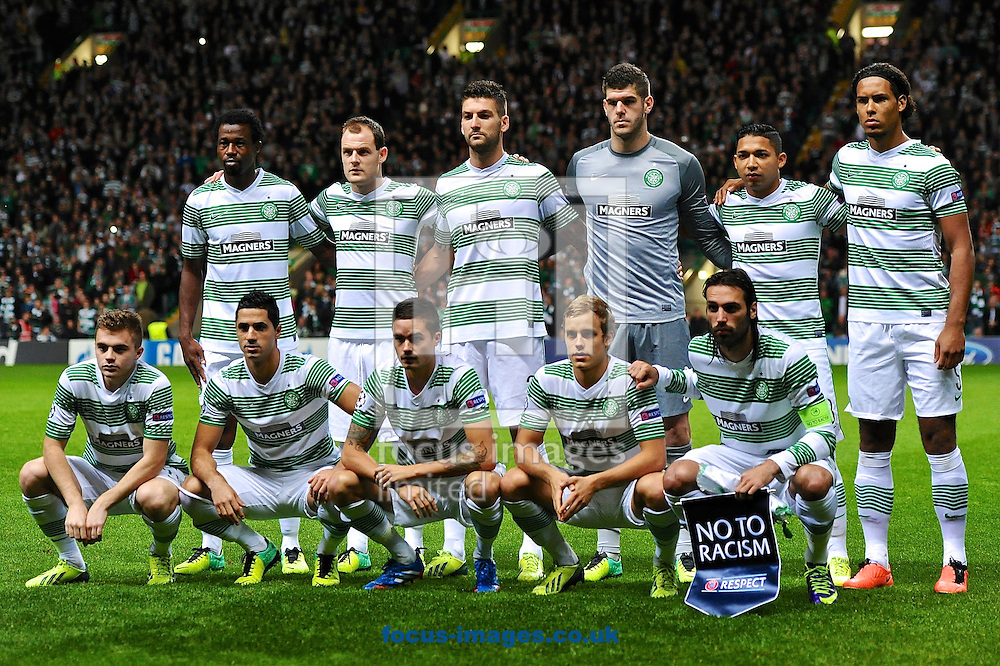Picture by Ian Wadkins/Focus Images Ltd +44 7877 568959<br /> 22/10/2013<br /> Celtic team line up ahead of the UEFA Champions League match at Celtic Park, Glasgow.