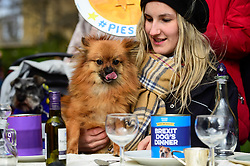 "© Licensed to London News Pictures. 10/03/2019. LONDON, UK.  A Pro-Remain owner and their dog in Victoria Park Gardens, next to the Houses of Parliament, for ""Brexit is a Dog's Dinner"", a protest to urge MPs to vote to ensure that a no-deal Brexit is avoided and to give the people of the UK a final say.  Next week, there will be a series of up to three votes in the House of Commons where MPs will vote on whether to accept Theresa May's Brexit deal.  Photo credit: Stephen Chung/LNP"