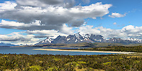This was the first view of the mountains of Torres del Paine National Park, Chile.