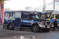 © Licensed to London News Pictures. 27/05/2017. London, UK. An armoured police vehicle at Wembley stadium ahead of the FA Cup final match between Arsenal FC and Chelsea FC. Security has been increased at venues across the UK, with the military called in to help police, following a terrorist attack at a music concert in Manchester on Monday evening. Photo credit: Ben Cawthra/LNP