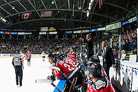 KELOWNA, CANADA - DECEMBER 3: Jason Smith, head coach of the Kelowna Rockets speaks to ice officials from the bench against the Brandon Wheat Kings on December 3, 2016 at Prospera Place in Kelowna, British Columbia, Canada.  (Photo by Marissa Baecker/Shoot the Breeze)  *** Local Caption ***
