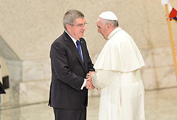 October 5, 2016 - Vatican City, Vatican - Thomas Bach and Pope Francis during Conference Sport at service of humanity, at the Vatican on october 05, 2016  The goal of the conference is to create a forum where leaders from different religious faiths, sports, business, academia and media can discuss how faith and sport can work together to better serve humanity. (Credit Image: © Silvia Lore/NurPhoto via ZUMA Press)