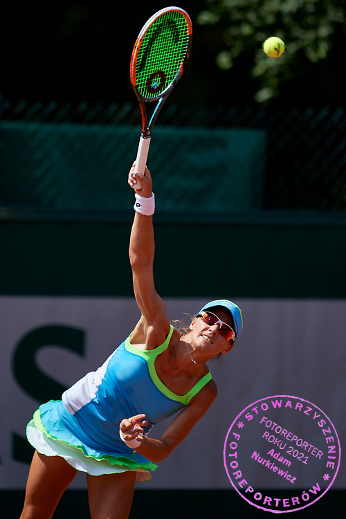 Paris, France - 2017 June 02: Alicja Rosolska from Poland serves while her women's double match second round during tennis Grand Slam tournament The French Open 2017 (also called Roland Garros) at Stade Roland Garros on June 02, 2017 in Paris, France.<br /> <br /> Mandatory credit:<br /> Photo by &copy; Adam Nurkiewicz<br /> <br /> Adam Nurkiewicz declares that he has no rights to the image of people at the photographs of his authorship.<br /> <br /> Picture also available in RAW (NEF) or TIFF format on special request.<br /> <br /> Any editorial, commercial or promotional use requires written permission from the author of image.