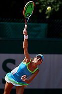 Paris, France - 2017 June 02: Alicja Rosolska from Poland serves while her women's double match second round during tennis Grand Slam tournament The French Open 2017 (also called Roland Garros) at Stade Roland Garros on June 02, 2017 in Paris, France.<br /> <br /> Mandatory credit:<br /> Photo by © Adam Nurkiewicz<br /> <br /> Adam Nurkiewicz declares that he has no rights to the image of people at the photographs of his authorship.<br /> <br /> Picture also available in RAW (NEF) or TIFF format on special request.<br /> <br /> Any editorial, commercial or promotional use requires written permission from the author of image.