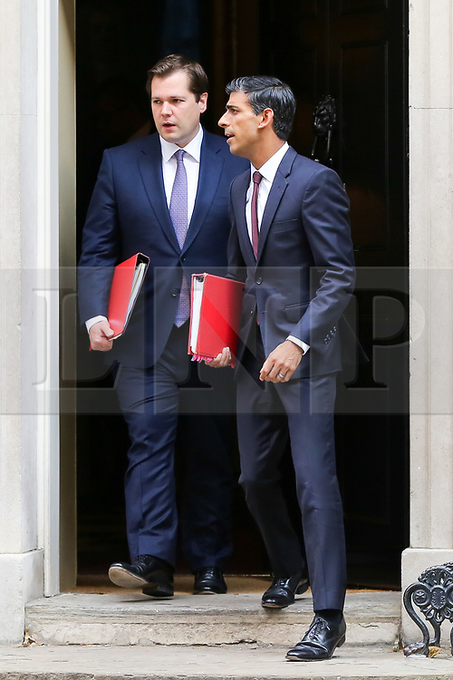 © Licensed to London News Pictures. 10/09/2019. London, UK. Secretary of State for Housing & Communities ROBERT JENRICK (L) and Chief Secretary to The Treasury RISHI SUNAK  departs from No 10 Downing Street after attending the weekly Cabinet Meeting. Photo credit: Dinendra Haria/LNP