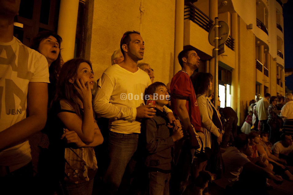 people watching Bastille day fireworks Carcasonne