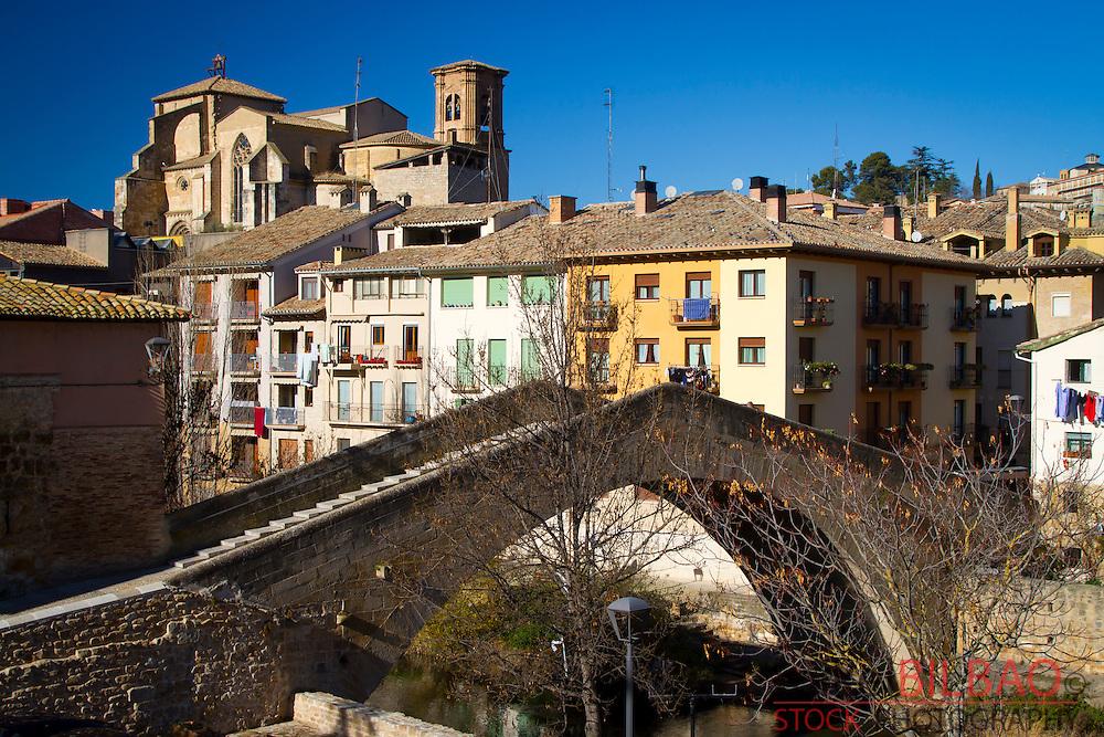 Jail bridge and San Miguel church. Estella, Navarre, Spain.