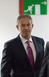 © Licensed to London News Pictures. 17/02/2017. LONDON, UK.  Tony Blair arrives to make a keynote speech about Brexit at an Open Britain event held at Bloomberg in London. In his first major speech since the European Union (EU) referendum, former Prime Minister, Tony Blair has called for Remain supporters to fight to stop Brexit, claiming that voters were misinformed when they voted for Brexit and that Prime Minister, Theresa May's agenda is being dictated by hardline Eurosceptics.  Photo credit: Vickie Flores/LNP