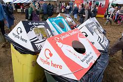 Various recycling bins at WOMAD (World of Music; Arts and Dance) Festival; Charlton Park; Malmesbury; 2007,