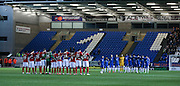 Minutes silence during the Sky Bet League 1 match between Peterborough United and Coventry City at London Road, Peterborough, England on 25 March 2016. Photo by Simon Davies.