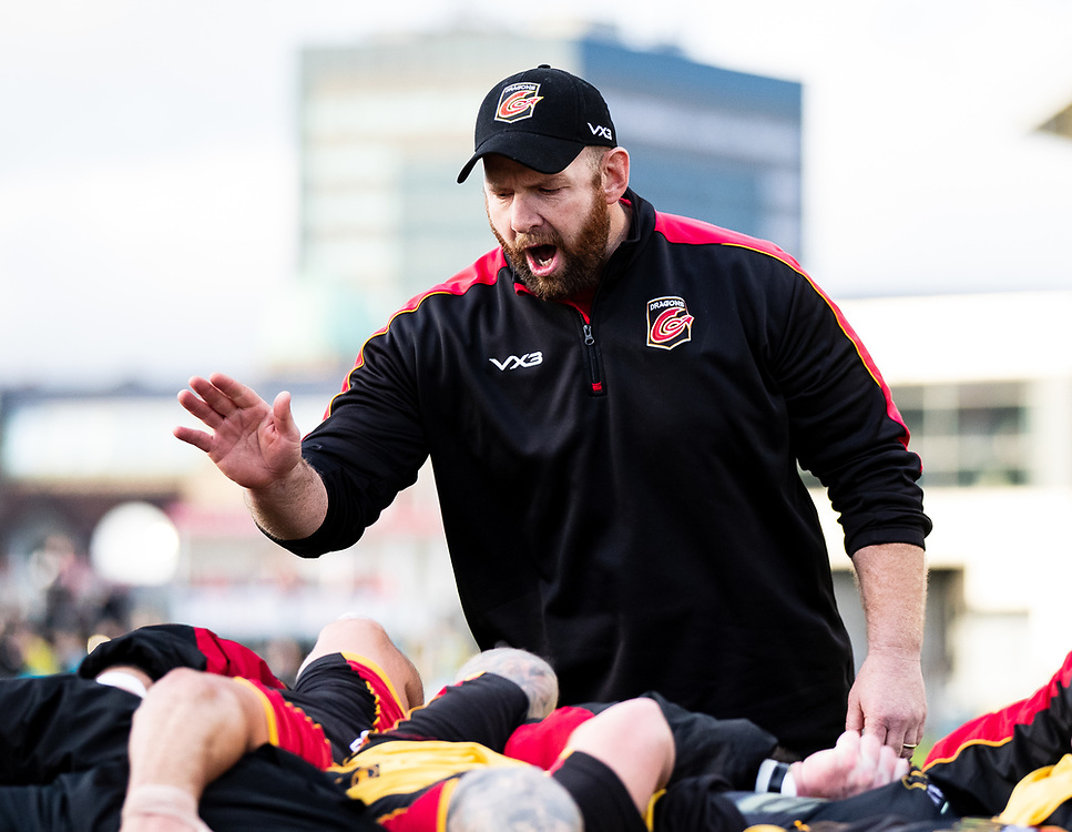 Interim Head Coach Ceri Jones of Dragons during the pre match warm up<br /> <br /> Photographer Simon King/Replay Images<br /> <br /> Guinness PRO14 Round 12 - Dragons v Ospreys - Sunday 30th December 2018 - Rodney Parade - Newport<br /> <br /> World Copyright © Replay Images . All rights reserved. info@replayimages.co.uk - http://replayimages.co.uk