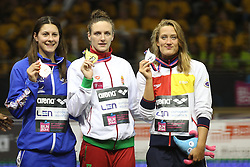 18.08.2014, Europa Sportpark, Berlin, GER, LEN, Schwimm EM 2014, 400m Lagen, Damen, Podium, im Bild Belmonte Garcia (Spanien), Katrinka Hosszu (Ungarn), Aimee Willmott (GBR) // during the women's podium after 400m Medley final round of the LEN 2014 European Swimming Championships at the Europa Sportpark in Berlin, Germany on 2014/08/18. EXPA Pictures © 2014, PhotoCredit: EXPA/ Eibner-Pressefoto/ Lau<br /> <br /> *****ATTENTION - OUT of GER*****