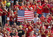 September 10, 2011: Iowa State fans in the student section cheer before the start of the first half of the game between the Iowa Hawkeyes and the Iowa State Cyclones during the Iowa Corn Growers Cy-Hawk game at Jack Trice Stadium in Ames, Iowa on Saturday, September 10, 2011. Iowa State defeated Iowa 44-41 in 3OT.