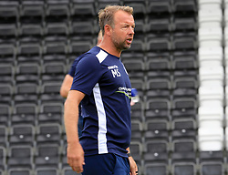 Bristol Rovers assistant manager Marcus Stewart takes the warm up prior to kick off - Mandatory by-line: Paul Roberts/JMP - 22/07/2017 - FOOTBALL - New Lawn Stadium - Nailsworth, England - Forest Green Rovers v Bristol Rovers - Pre-season friendly