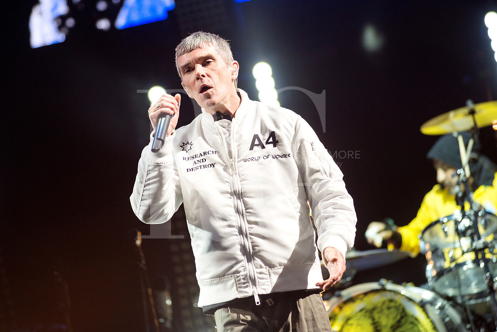 Ian Brown of the Stone Roses performs on the main stage on Day 1 of the T in the Park festival at Strathallan Castle on July 08, 2016 in Perth, Scotland. (Photo by Ross gilmore)