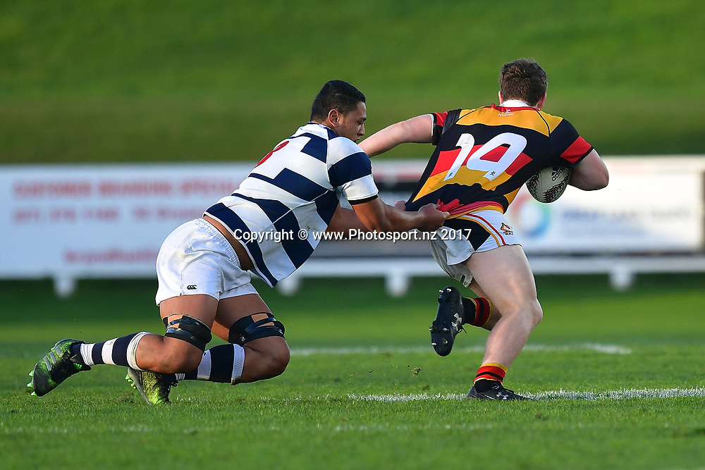 Waikatos Kieran Lee (R is tackled by Aucklands Ben Sa'u during the Jock Hobbs Memorial trophy final rugby match between the Auckland and Waikato at Owen Delany Park in Taupo on Saturday the 16th September 2017. Copyright Photo by Marty Melville / www.Photosport.nz