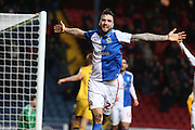 Shane Duffy of Blackburn Rovers celebrates after  scoring the second goalduring the Sky Bet Championship match between Blackburn Rovers and Fulham at Ewood Park, Blackburn, England on 16 February 2016. Photo by Simon Brady.