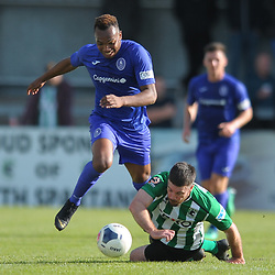 TELFORD COPYRIGHT MIKE SHERIDAN Marcus Dinanga of Telford is tackled by Damien Mullen of Blyth during the National League North fixture between Blyth Spartans and AFC Telford United at Croft Park on Saturday, September 28, 2019<br /> <br /> Picture credit: Mike Sheridan<br /> <br /> MS201920-023