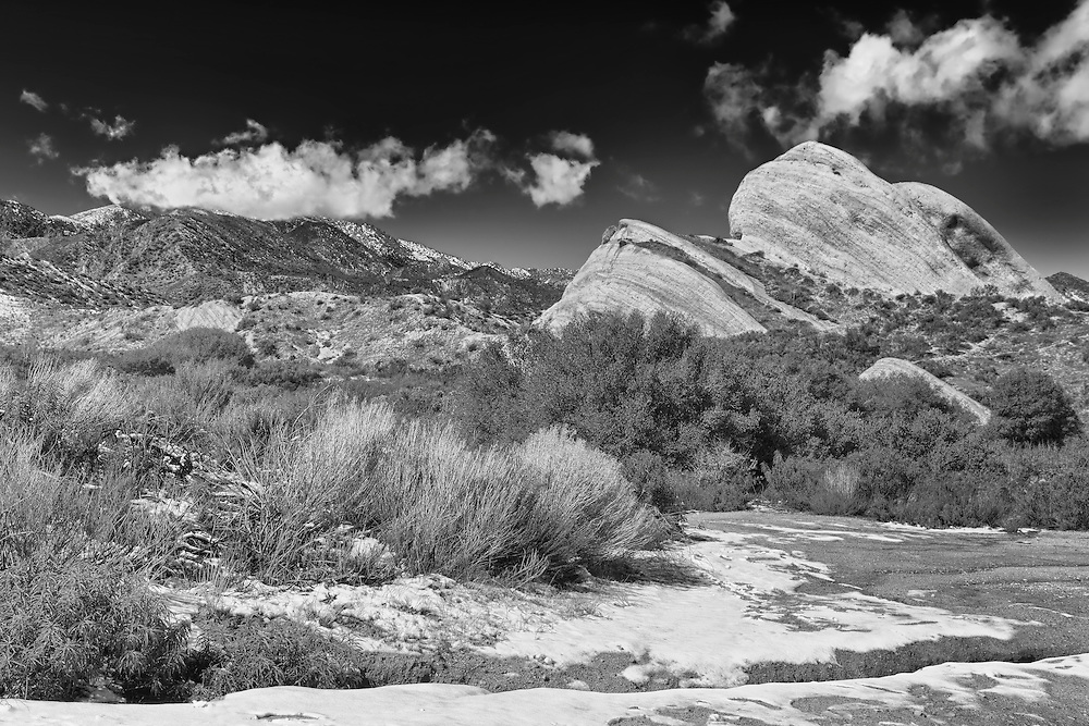 Mormon Rocks -  West View After Snow Dusting - HDR - Infrared Black & White