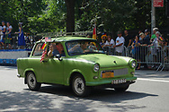 Trabant car at the German Steuben Parade along Fifth Avenue in Central Park