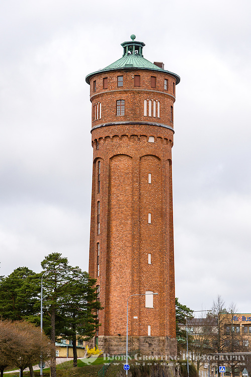 Sweden, Trollhättan. The old watertower, converted to a tower of apartments.